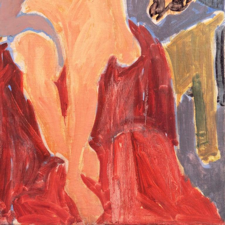 'Seated Nude', Paris, Louvre, Academie Chaumiere, Carmel, California, LACMA, Oil - Orange Nude Painting by Victor Di Gesu