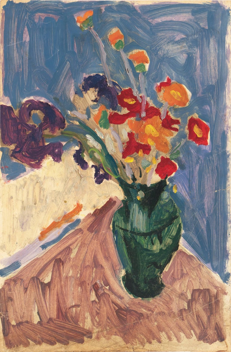 Post-Impressionist oil 'Still Life of Irises and California Poppies' LACMA, SFAA For Sale 1