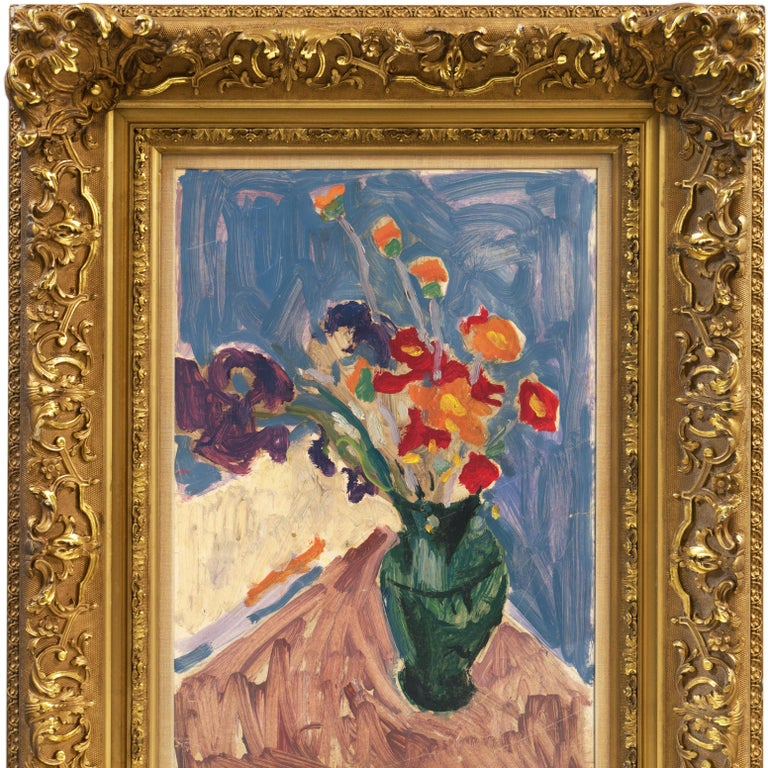 Post-Impressionist oil 'Still Life of Irises and California Poppies' LACMA, SFAA For Sale 2