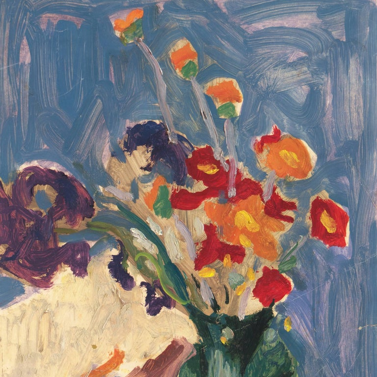 Post-Impressionist oil 'Still Life of Irises and California Poppies' LACMA, SFAA For Sale 4