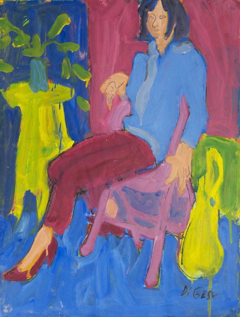 Victor Di Gesu Figurative Painting - California Post-Impressionist 'Woman Seated', Louvre, Académie Chaumière, LACMA