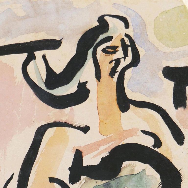 'Woman with Guitar', California, Paris, Louvre, Academie Chaumiere, SFAA, LACMA - Post-Impressionist Painting by Victor Di Gesu