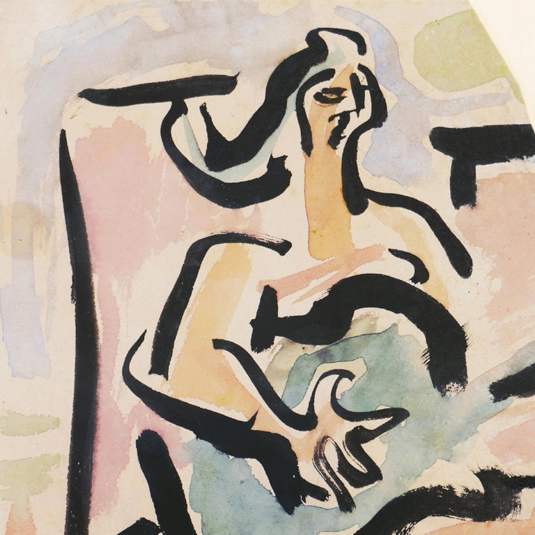 'Woman with Guitar', California, Paris, Louvre, Academie Chaumiere, SFAA, LACMA For Sale 1