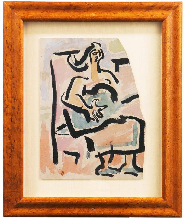 Victor Di Gesu Figurative Painting - 'Woman with Guitar', California, Paris, Louvre, Academie Chaumiere, SFAA, LACMA