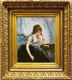"19th Century Academic Portrait, ""Young Lady Writing a Letter"""