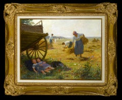 French landscape painting with children, figures & field Scene 'The Harvest'