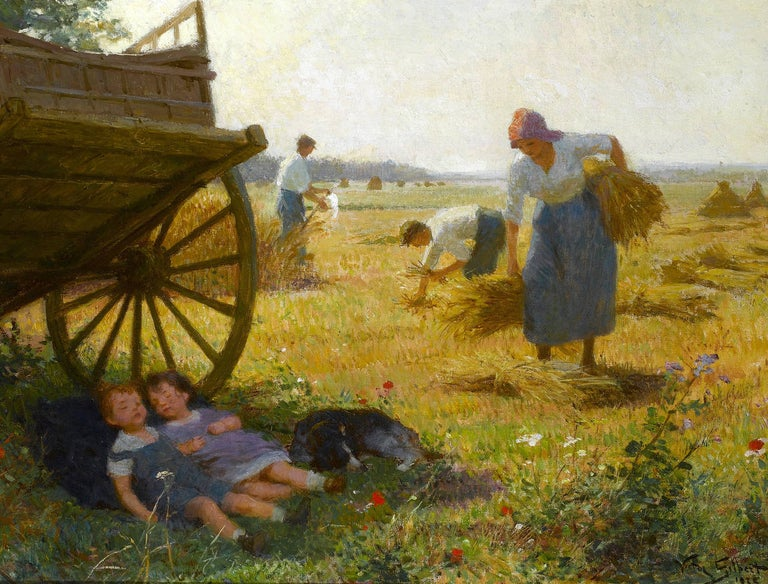 'The Harvest' is a stunning pastoral scene by Victor Gabriel Gilbert.  Victor Gabriel Gilbert was born in Paris, 13th February 1847. He studied for a period with the painter and lithographer Victor Adam (1801-1866) and subsequently with the