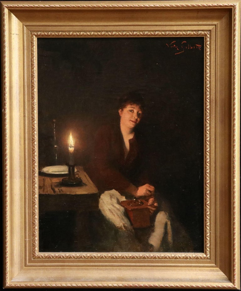 Grinding Coffee - 19th Century Oil, Figure in Interior by Victor Gabriel Gilbert For Sale 1