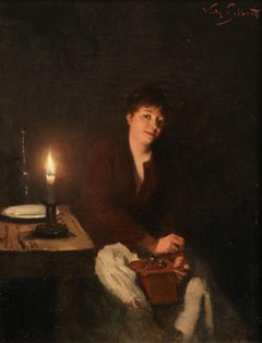 Grinding Coffee - 19th Century Oil, Figure in Interior by Victor Gabriel Gilbert