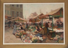 Marche aux Fleurs, 19th Century Oil on Canvas