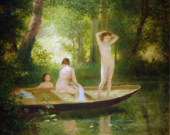 Painting of a river scene with nude bathers surrounded by green 'Les Baigneuse'