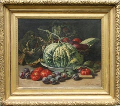 Still Life of Vegetables - French 19thC realist art oil painting tomatoes plums