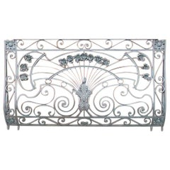 Victor Horta Style of an Art Nouveau Hand Wrought Iron Floral Balcony Railing