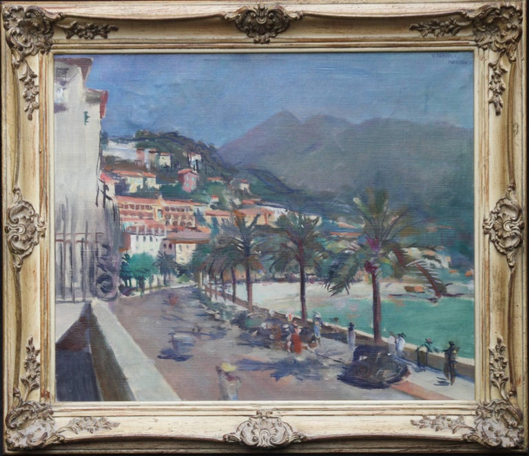 Menton - South of France - British Impressionist oil painting beach promenade