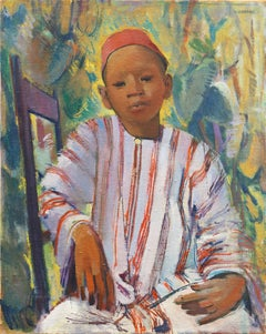 Post Impressionist Portrait of a Moroccan Boy, Orientalist, North African