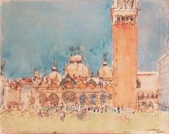 'St Mark's Square, Venice', Paris, Academie Chaumiere, Post-Impressionist