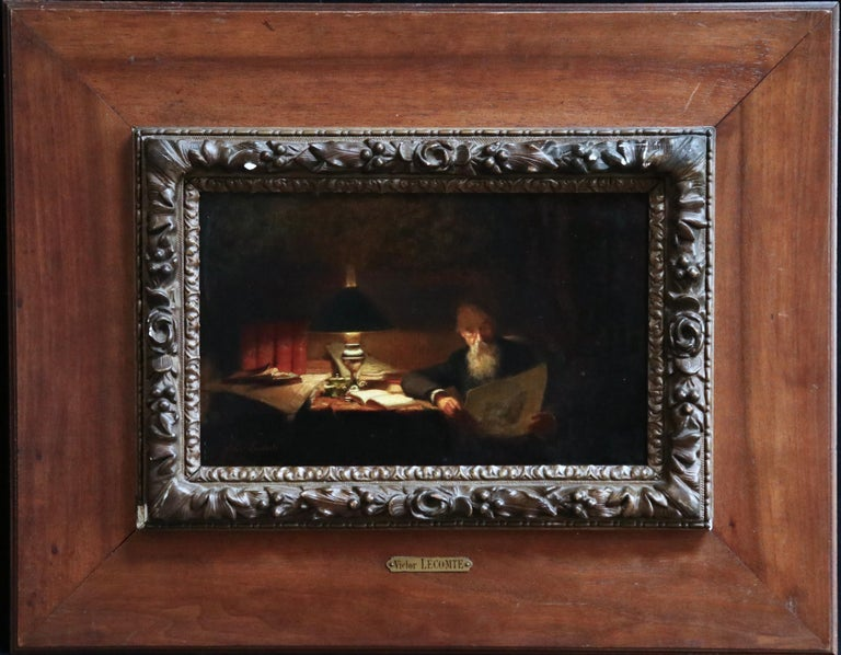 Reading - 19th Century Oil, Man Reading by Lamp in Interior by Victor Lecomte For Sale 1