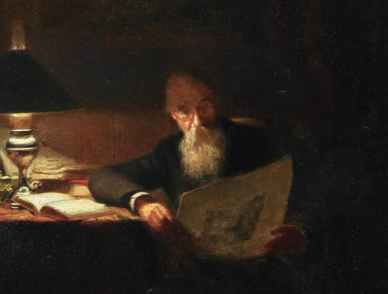 Reading - 19th Century Oil, Man Reading by Lamp in Interior by Victor Lecomte For Sale 2