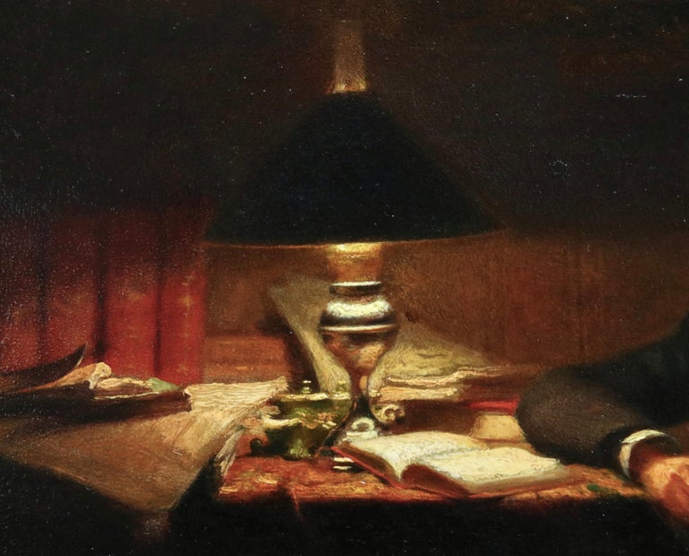 Reading - 19th Century Oil, Man Reading by Lamp in Interior by Victor Lecomte For Sale 3