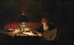 Reading - 19th Century Oil, Man Reading by Lamp in Interior by Victor Lecomte