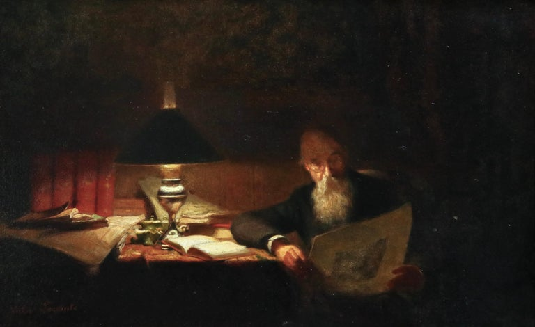 Oil on panel circa 1910 by Victor Lecomte depicting a gentleman reading at a desk strewn with books by the light of a lamp. Signed lower left. Framed dimensions are 17.5 inches high by 22 inches wide.  Victor Lecomte trained with Achille Gilbert.