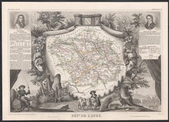 Aube, France. Antique map of a French department, 1856