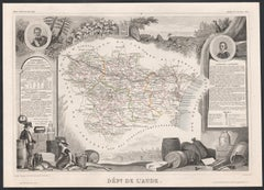 Aude, France. Antique map of a French department, 1856