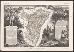 Bas Rhin, France. Antique map of a French department, 1856