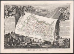 Bouches de Rhone, France. Antique map of French department, 1856