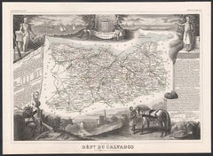 Calvados, France. Antique map of a French department, 1856