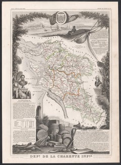 Charente Inferieure, France. Antique map of a French department, 1856