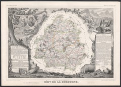Dordogne, France. Antique map of a French department, 1856