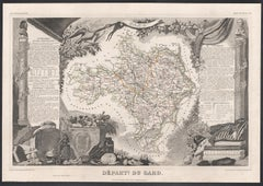 Gard, France. Antique map of a French department, 1856