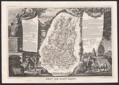 Haut Rhin, France. Antique map of a French department, 1856
