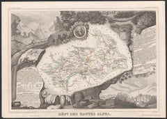 Hautes Alpes, France. Antique map of a French department, 1856