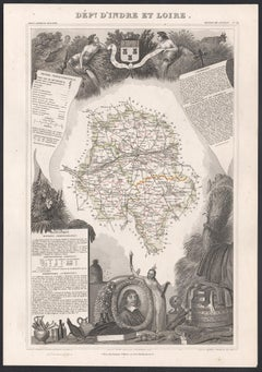 Indre and Loire, France. Antique map of a French department, 1856