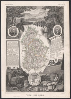 Jura, France. Antique map of a French department, 1856