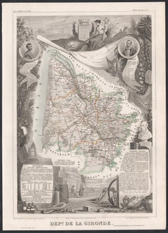 La Gironde, France. Antique map of a French department, 1856