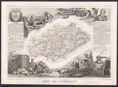 L'Herault, France. Antique map of a French department, 1856