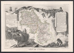 L'Isere, France. Antique map of French department, 1856