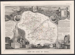 Loir and Cher, France. Antique map of a French department, 1856