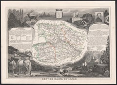 Maine et Loire, France. Antique map of French department, 1856