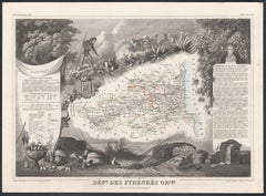 Pyrenees Orientales, France. Antique map of a French department, 1856