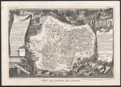 Saone and Loire, France. Antique map of a French department, 1856