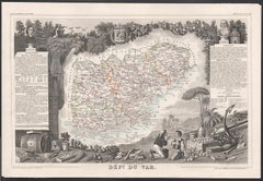 Var, France. Antique map of a French department, 1856