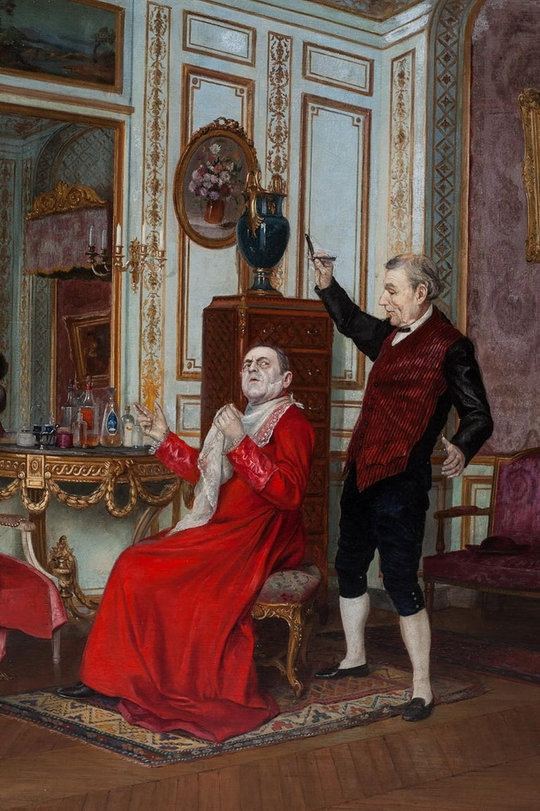 In this work, we can see how cardinal is undergoing a beard shortening procedure. The cardinal and his servant are in a French-style room full of luxuries and drinks.