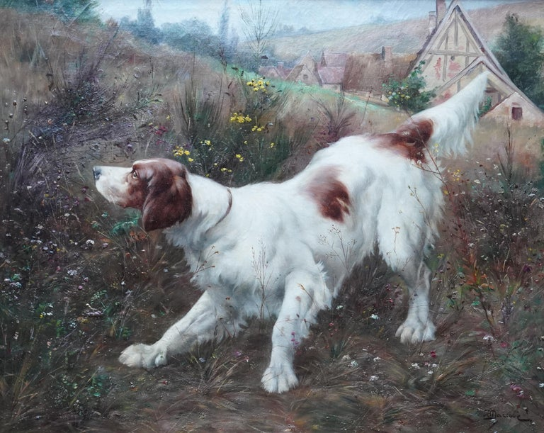 Portrait of a Dog in a Landscape - French Edwardian art oil painting - Painting by Victor Marcou
