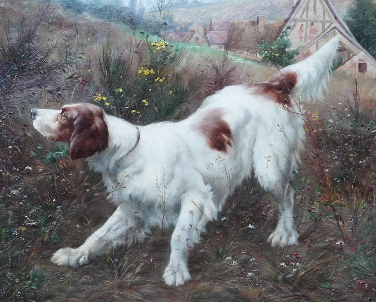 Portrait of a Dog in a Landscape - French Edwardian art oil painting - Realist Painting by Victor Marcou