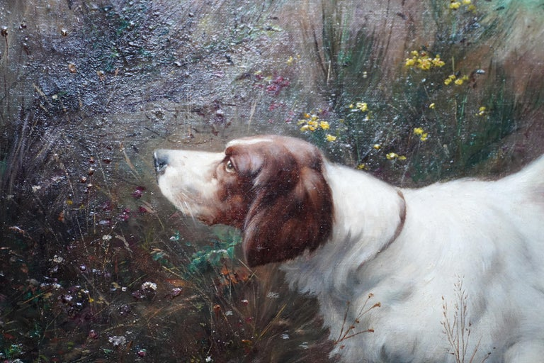 Portrait of a Dog in a Landscape - French Edwardian art oil painting - Gray Animal Painting by Victor Marcou