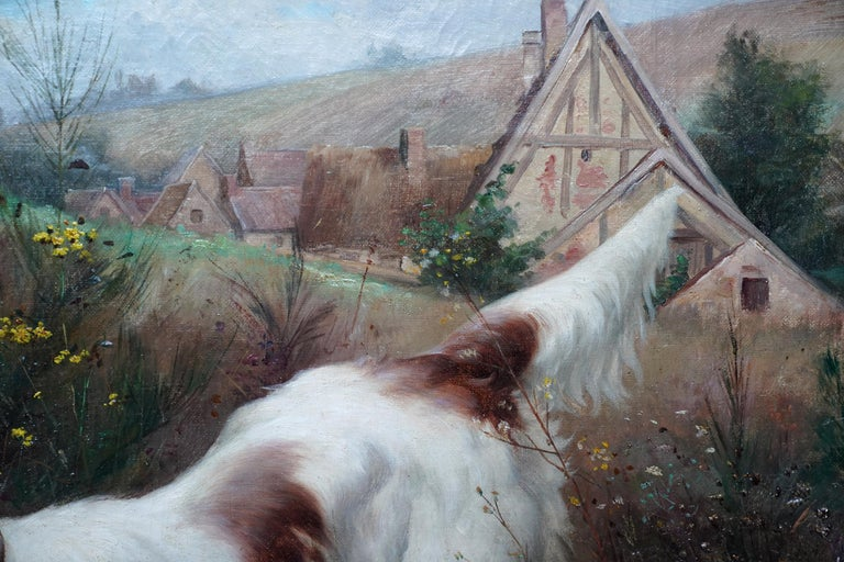 Portrait of a Dog in a Landscape - French Edwardian art oil painting For Sale 1